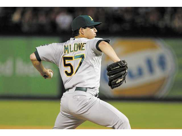 Oakland Athletics pitcher and Saugus graduate Tommy Milone throws during a game in Arlington, Texas on Sept. 25.