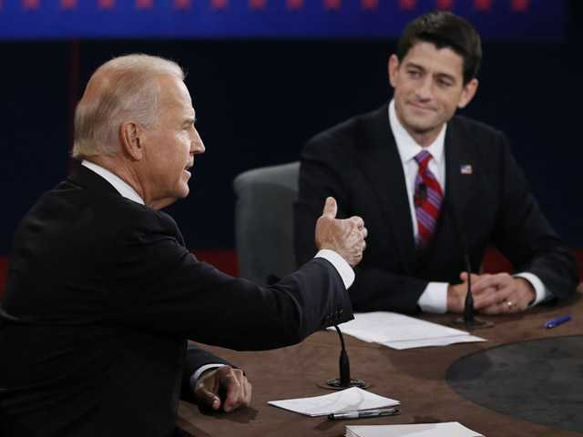 Vice President Joe Biden and Republican vice presidential nominee Rep. Paul Ryan of Wisconsin participate in the vice presidential debate at Centre College in Danville, Ky.