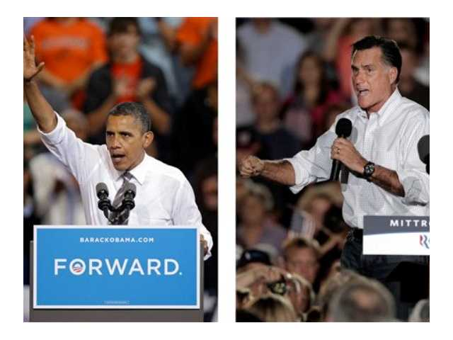 In these Sept. 26, 2012, file photos, President Barack Obama and Republican presidential candidate Mitt Romney both campaign in the battleground state of Ohio. Fierce and determined competitors, Obama and Romney each have a specific mission for the presidential debates, the second of which is Tuesday, Oct. 16.
