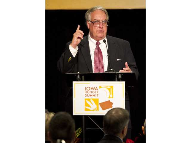 In a Tuesday Oct. 16, 2012 photo, Howard Buffett is keynote speaker for Iowa Hunger Summit, hosted by the World Food Prize Foundation.