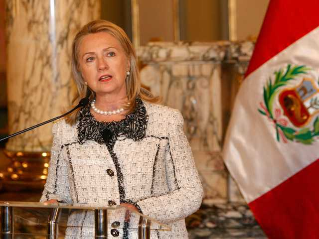 U.S. Secretary of State Hillary Rodham Clinton speaks after a meeting with Peru's President Ollanta Humala in Lima, Peru.