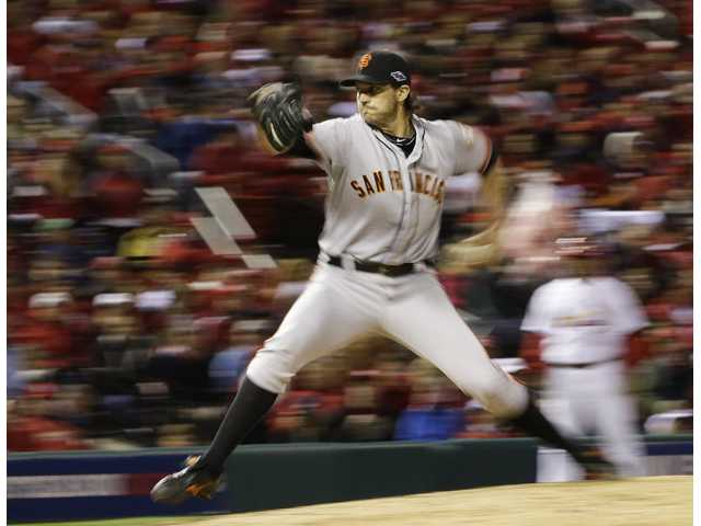 San Francisco Giants starting pitcher Barry Zito throws against the St. Louis Cardinals on Friday in St. Louis.