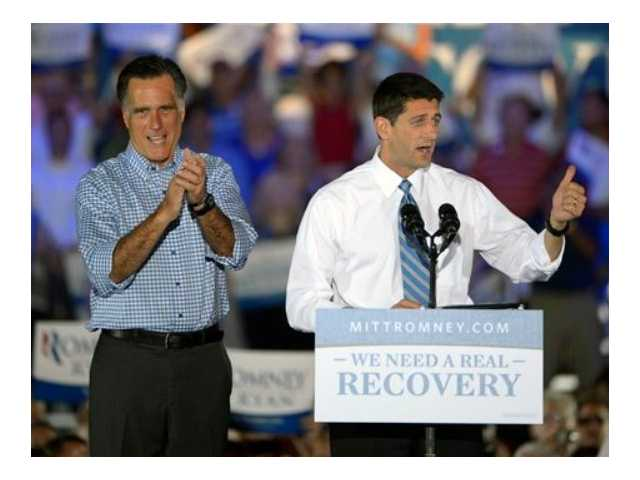 Republican presidential candidate, former Massachusetts Gov. Mitt Romney, left, applauds as he is introduced to supporters by his vice presidential running mate Rep. Paul Ryan, R-Wis., during the Romney Ryan Victory Rally in Daytona Beach, Fla., Friday.