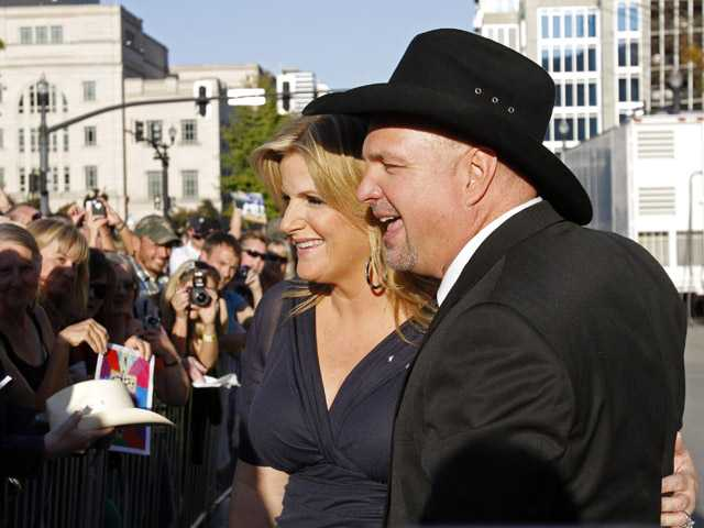 Garth Brooks and Trisha Yearwood greet fans the Country Music Hall of Fame Inductions on Sunday in Nashville, Tenn.