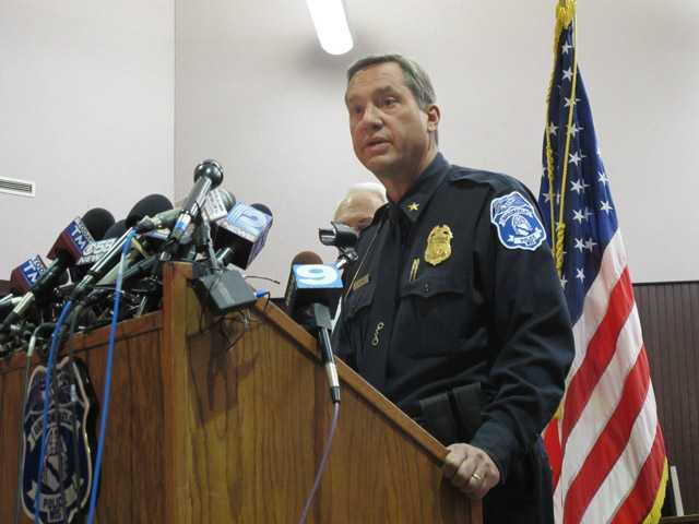 Brookfield Police Chief Dan Tushaus briefs reporters in an evening news conference in Brookfield, Wis., on Sunday.
