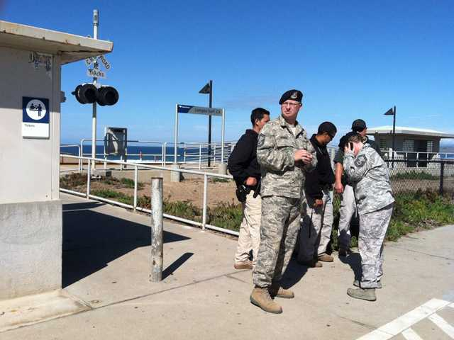 Vandenberg Air Force Base security forces block the entrance to Surf Beach in Lompoc, Calif.