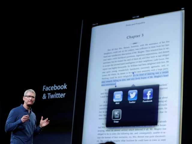Apple CEO Tim Cook speaks during an event to announce new products in San Jose, Calif., Tuesday, Oct. 23, 2012.