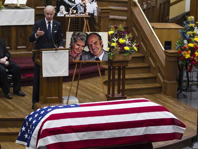 Vice President Joe Biden speaks at a prayer service for George McGovern in Sioux Falls, S.D., on Thursday.
