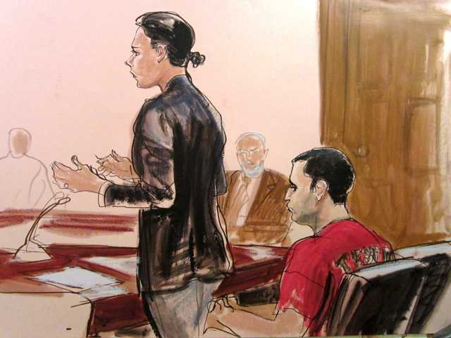 In this courtroom drawing Federal Defender Julie Gatto requests bail for her client, New York City Police Officer Gilberto Valle, right, at Manhattan Federal Court, Thursday, Oct. 25, 2012 in New York
