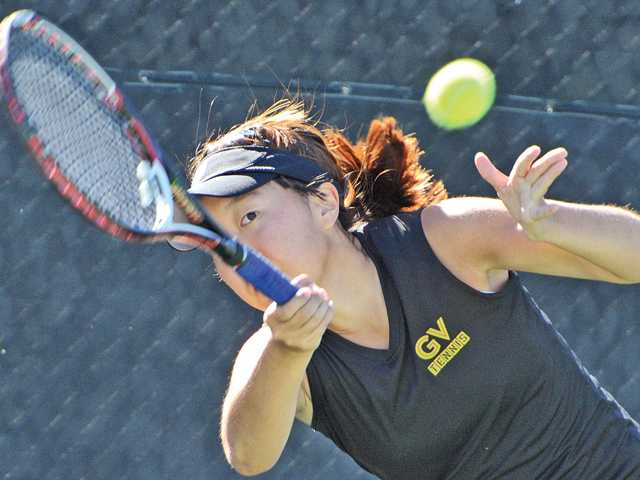 Golden Valley singles player Rebecca Ho watches her return shot on Thursday at The Paseo Club during the Foothill League Individuals Tournament. Ho was the singles champion.