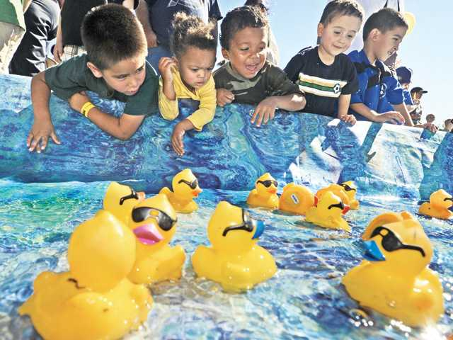 Young ducky enthusiasts from left, Alexander Villanueva Amina, 2, and Saliah Antoine, 6, Nicolas, 2, and Nathan Cabrera, 6, watch the rubber duckies float by during a test run at the 10th annual Rubber Ducky Festival at Bridgeport Park on Saturday. Signal photo by Dan Watson.