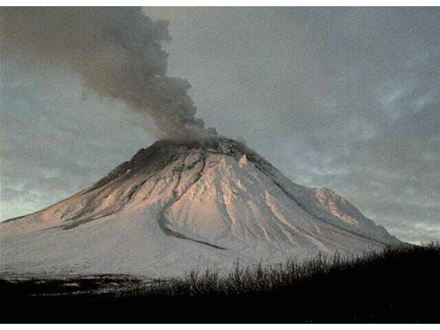 Alaska Volcano Observatory's Augustine Island webcam shows steam rising from Augustine Volcano 75 miles southwest of Homer, Alaska.
