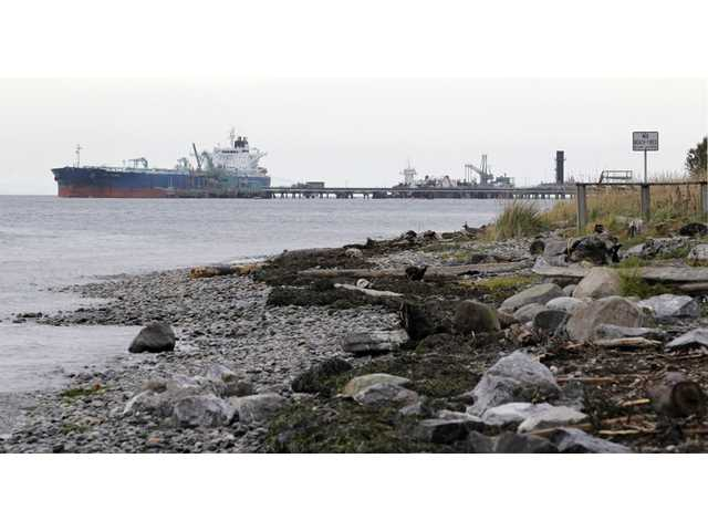 A ship is seen at the BP oil refinery in the Strait of Georgia just beyond the location of a proposed coal exporting terminal in Ferndale, Wash.