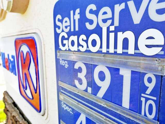 Fuel prices are posted at the Mobil gas station at McBean Parkway and Decoro Drive in Valencia on Friday.