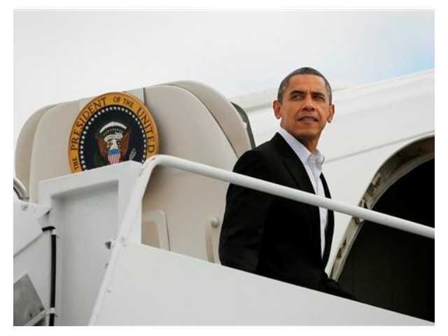 President Barack Obama is seen boarding Air Force One before his departure from Andrews Air Force Base, Saturday, Nov. 3, 2012. Obama traveling for the campaign events in Ohio, Wisconsin, Iowa and Virginia today.