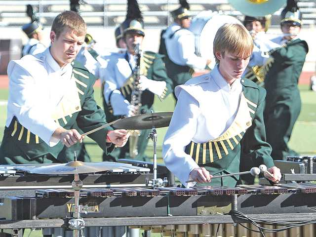 Collin Fox, left, and Ryan Stodart perform on the vibraphone.