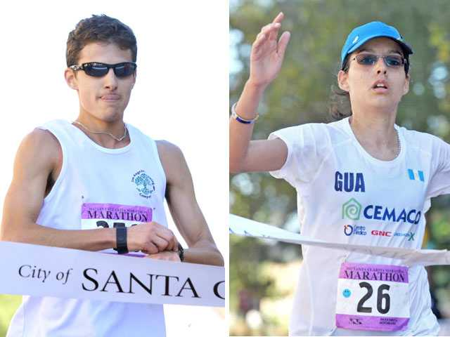 Jeffrey Jackson of Valencia and Petra Mullers of Guatemala were the first man and woman respectively to cross the finish line in the Santa Clarita Marathon on Sunday. (Jonathan Pobre/The Signal)