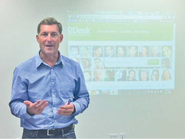 Gary Swart, CEO of oDesk, an online contractor marketplace, speaks at the Nov. 5 meeting for SCV Startup. Swart shared his advice on successful hiring and the best ways to contract work online.