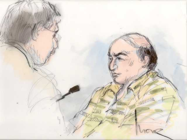 This courtroom sketch shows Mark Basseley Youssef, right, talking with his attorney Steven Seiden in court Oct. 10. Youssef was behind an anti-Muslim film that sparked violence in the Middle East.