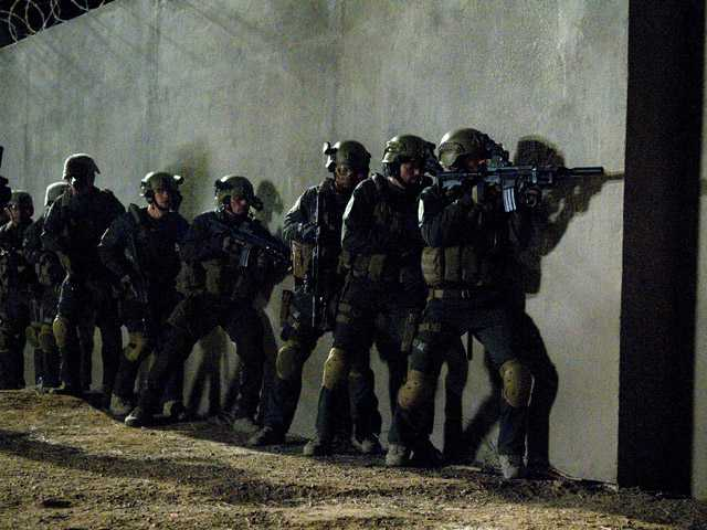 "Actors portraying members of SEAL Team Six who raided the compound of Osama Bin Laden in ""SEAL Team Six: The Raid on Osama bin Laden."""