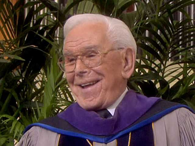 "This April 1, 2007, photo  shows the Rev. Robert H. Schuller during his ""Hour of Power"" service at the Crystal Cathedral in Garden Grove."