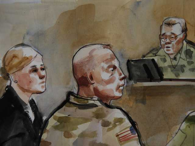 In this detail of a courtroom sketch, U.S. Army Staff Sgt. Robert Bales, center, is shown Monday during a preliminary hearing in a military courtroom at Joint Base Lewis McChord in Washington state.