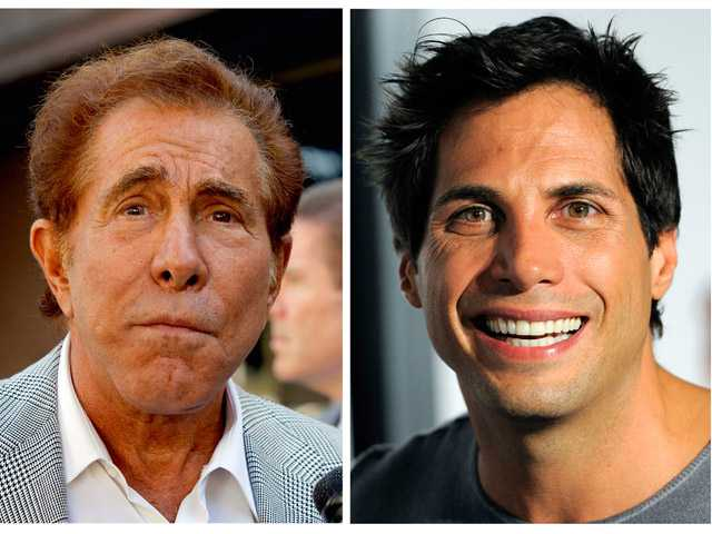 "This photo combination of file photos shows casino mogul Steve Wynn, left, in Los Angeles, and ""Girls Gone Wild"" founder Joe Francis."