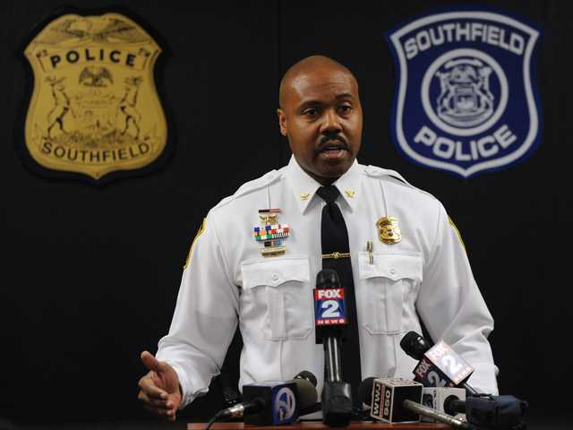 Southfield Police Chief Eric Hawkins holds a news conference, Monday.