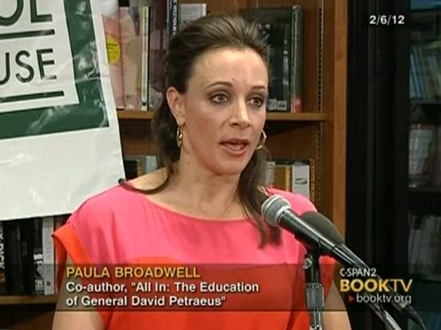 "In the frame grab from C-SPAN Book TV video taken Feb. 6, 2012, author Paula Broadwell speaks to an audience about the book she co-authored, ""All In: The Education of General David Petraeus."""