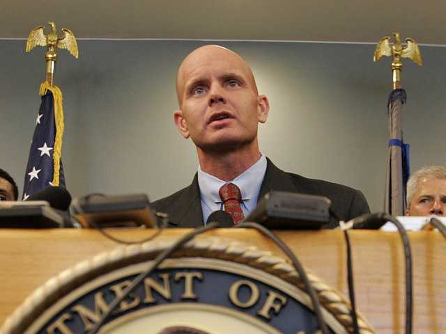 In this July 27, 2005, photo, FBI Agent Frederick Humphries speaks during a news conference after the sentencing of Ahmed Ressam at the Federal Courthouse in Seattle.