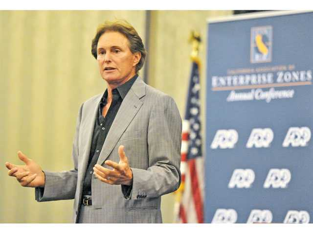 Former Olympian Bruce Jenner speaks at the California Association of Enterprise Zones annual conference at the Hyatt Regency Valencia on Thursday.