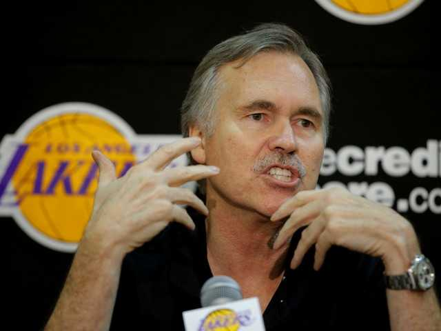 New Los Angeles Lakers coach Mike D'Antoni speaks Thursday during a news conference at the team's basketball training facility in El Segundo, Calif.