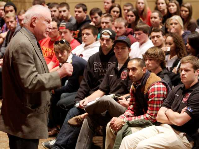 Chico State President Paul Zingg talks to a crowd of Greek students at a meeting in the Bell Memorial Union on Thursday in Chico.