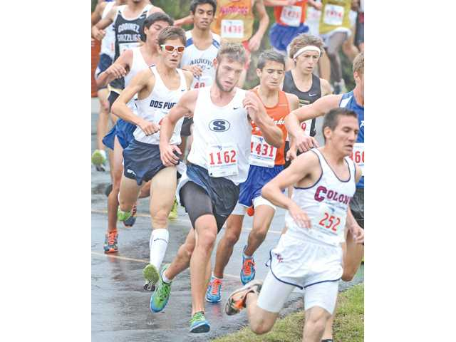 Saugus' A.J. Yarnall competes in the CIF-Southern Section Division II race at Mt. SAC on Saturday. Yarnall's team finished second overall.