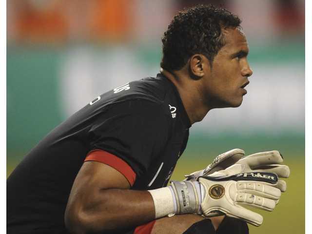 Flamengo's goalkeeper Bruno Fernandes during a soccer game in Rio de Janeiro, Brazil.