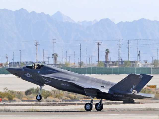 The 3rd Marine Aircraft Wing's first F-35B touches down Friday afternoon at Marine Corps Air Station Yuma in Yuma, Ariz.