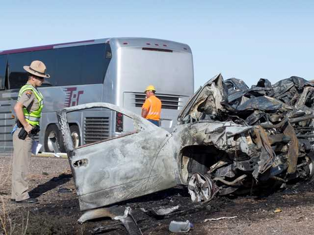 A wrong-way pickup truck driver was killed on Interstate 10 Tuesday, Nov. 20 when the vehicle collided head-on with a tour bus, forcing the closure of all westbound lanes near Casa Grande, Ariz., authorities said.