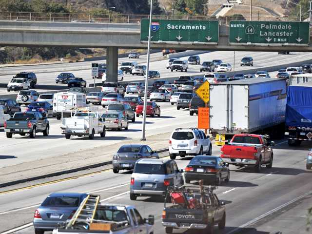 Traffic is seen backed up on northbound Interstate 5 from Roxford Street to Highway 14 in Sylmar at about 12:30 p.m. Wednesday. (Jonathan Pobre/The Signal)