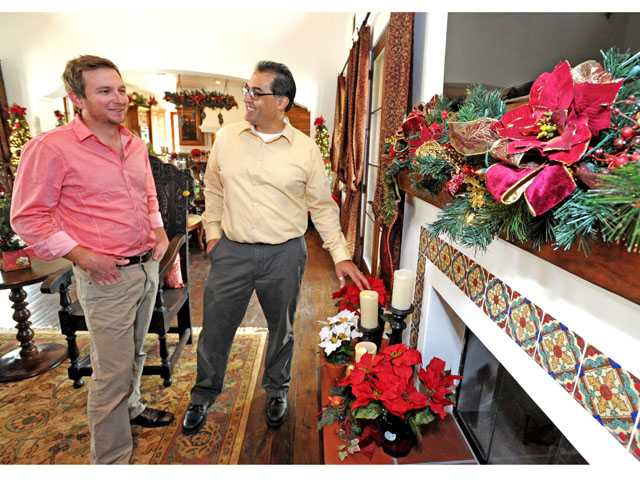 Homeowner Chris Davis, left, and designer Patrick Tremblay in the Davis home located in Placerita Canyon.