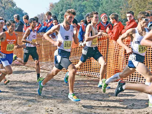 Saugus' A.J. Yarnall runs with the pack on his way to a second-place finish in boys Division II.