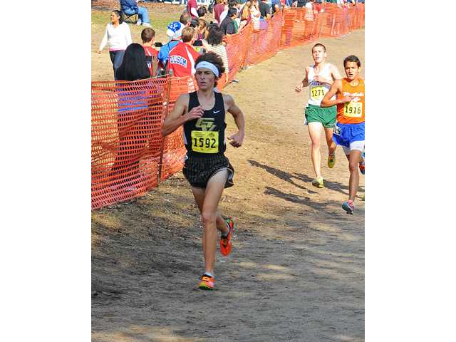 Golden Valley individual runner Nolan Del Valle runs on the Woodward Park course in Fresno at the CIF State Cross Country Championships.