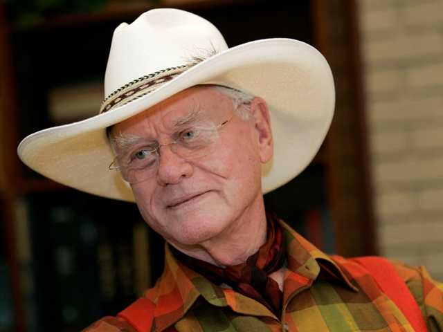 "In this Thursday, Oct. 9, 2008 photo, actor Larry Hagman listens to a reporter's question while visiting the Southfork Ranch in Parker, Texas, made famous in the television show ""Dallas."""