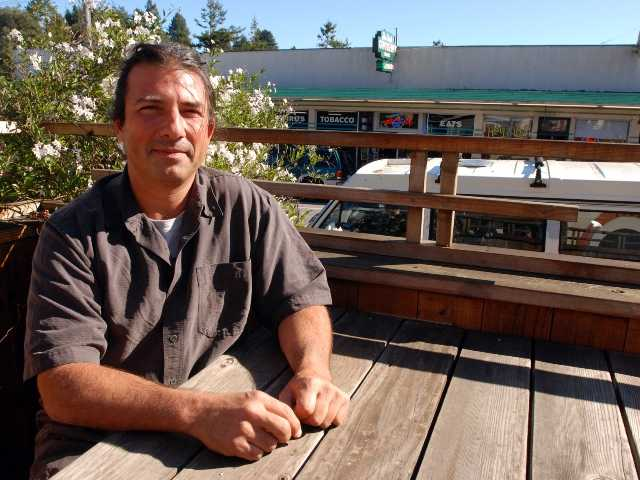 Humboldt State University sociologist Anthony Silvaggio sits at a coffee shop Oct. 25 in Arcata, Calif. Silvaggio has interviewed hundreds of marijuana growers in Arcata and Humboldt County.