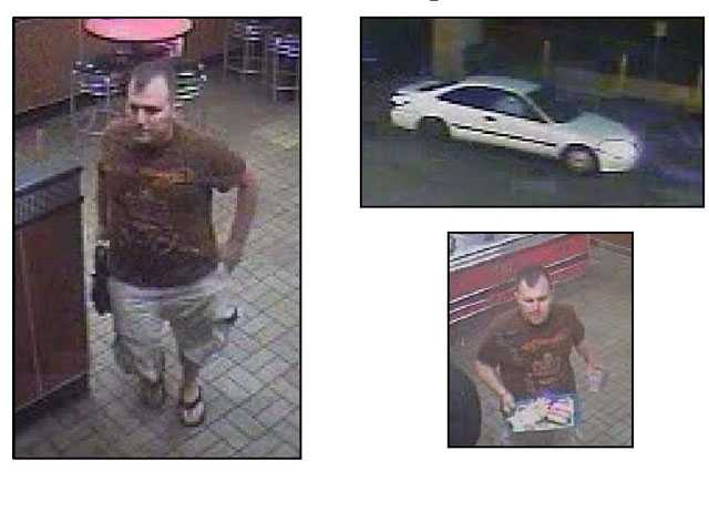 These photographs provided by the Santa Clarita Valley Sheriff's Station show an alleged purse-snatcher at the Carl's Jr. restaurant at Newhall Avenue and Sierra Highway.