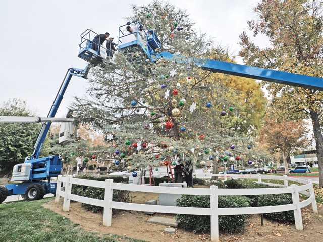 Volunteers go up in three cherry pickers as they hang lights.