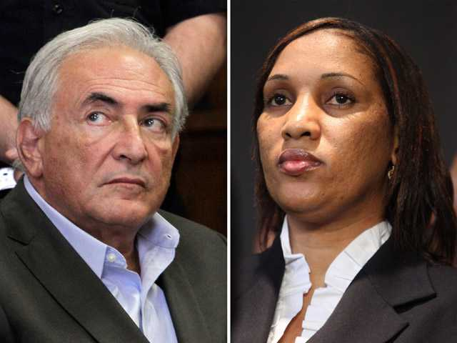 This combo made from file photos shows former International Monetary Fund chief leader Dominique Strauss-Kahn on May 19, 2011, left, and Nafissatou Diallo on July 28, 2011, in New York.