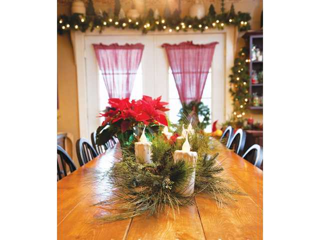 Include pine cones and clippings from evergreen trees when adding decorative accents around the house.