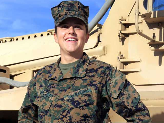 This Nov. 29 image provided by the United states Marine Corps shows Lt. Brandy Soublet on the Marine base, 29 Palms in Southern California.