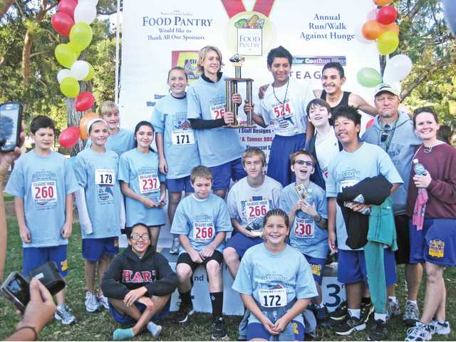 Placerita Junior High School captured the team trophy at the 19th annual Run for Hunger held at Newhall Park. They team fielded the most runners taking part in the event.