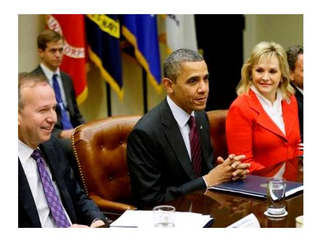 President Barack Obama, flanked by National Governors Association (NGA) Chairman, Delaware Gov. Jack Martell, and NGA Vice Chair, Oklahoma Gov. Mary Fallin, meets with the NGA executive committee regarding the fiscal cliff, Tuesday, Dec. 4, 2012, in the Roosevelt Room at the White House in Washington.
